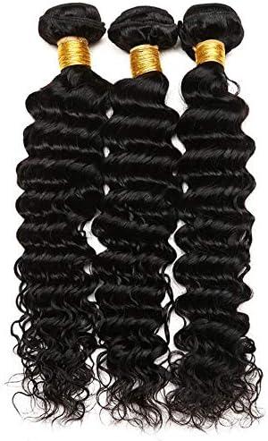 YULINGTRADE 7A グレード ヘア ディープ 巻き髪 ふわふわ オシャレ キレイ ファッション 女性 レディース クリップ ヘアー エクステ 超自然 ポイントウィッグ かつら エクステンション 100g (Color : Black, Size : 18 inch)