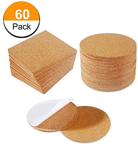 60 Pack Cork Squares 4 x 4 Inches Self-Adhesive DIY Coaster Square Cork and Round Cork Backing Sheets Mini Wall Cork Tiles for Coasters and DIY Sticky Crafts