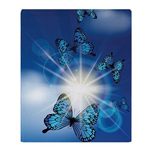 CafePress Blue Butterflies in Sunburst Soft Fleece Throw Bla