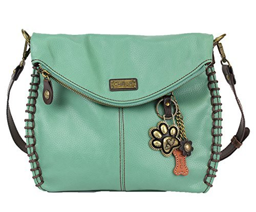 Chala Chala Charming Teal Crossbody Bag With Flap Top and Zipper or Shoulder Handbag-Paw Print