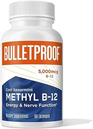 Methyl B-12, 500mcg Bioactive Vitamin B12, Spearmint Flavor, 60 Lozenges, Bulletproof Keto Supplement to Support Healthy Brain Cells, Nervous System, Energy, & Stress Relief