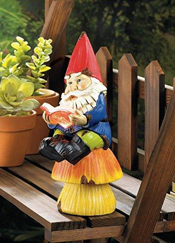 - Tolbsplace Gnomes Colorful Bookworm Gnome Sitting on Mushroom Reading Book Solar Garden Figurine