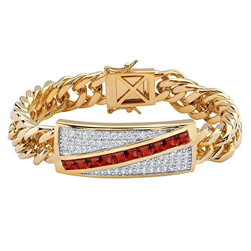 Men's Genuine Garnet and Cubic Zirconia 14k Gold-Plated Channel-Set Curb-Link Bracelet (Garnet Set Bracelet)