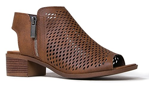 (J. Adams Tracy Perforated Flat Bootie - Casual Open Toe Low Heel - Cut Out Shoe, Light Brown, 5.5)