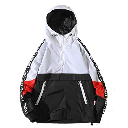 Amazon.com: KFSO Mens Color Block Letter Print Hooded Active ...