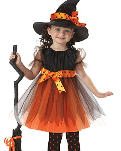 [Girl's Fancy Dress Halloween Dressing up Party Pirate Witch Batgirl Costume (XL: 7-8Y, Witch2)] (Witch Dresses)