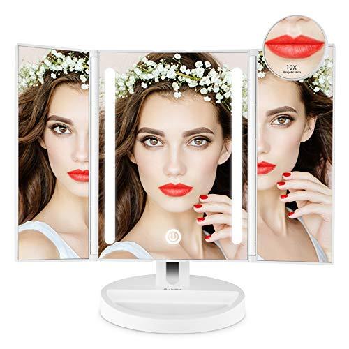 Auxmir Espejo Maquillaje con Luz LED, Espejo Cosmetico Triptico con Dos Caras con Pantalla Tactil Regulacion y Giratoria de 180 °, para Afeitado y Cuidado Facial, Blanco