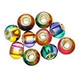 (10) Assorted Multi Mixed Glass European Lampwork Charm Beads Compatible with Snake Chain Bracelets