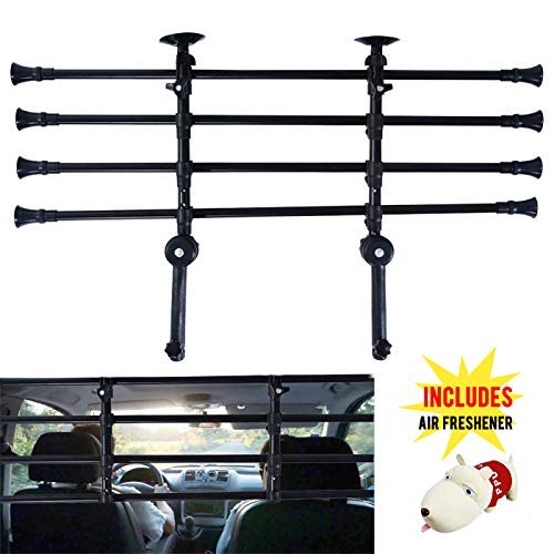 - Umien Dog Guard for Cars, SUVs - Adjustable Pet Barrier - Easy Mounting & Installation - Premium Steel Automotive Safety Barrier for Dogs