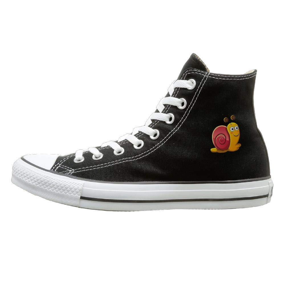 Sakanpo Snail Canvas Shoes High Top Casual Black Sneakers Unisex Style