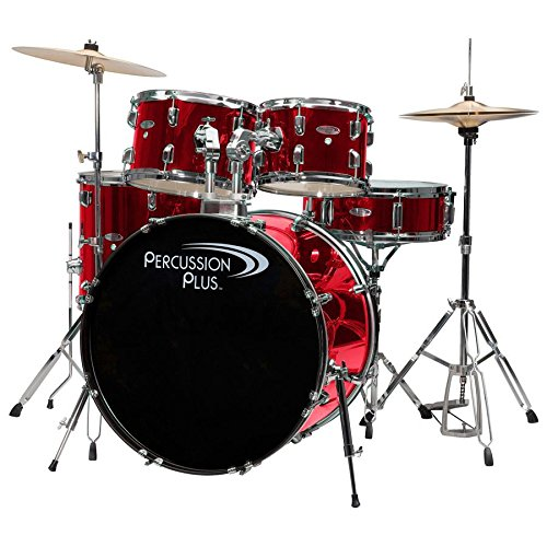 Percussion Plus PP4100BRD 5-Piece Drum Set, Brushed Red