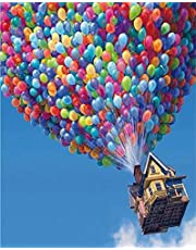 ABEUTY DIY Paint by Numbers for Adults Beginner - Flying House Travels - Blue Sky Balloon House 16x20 inches Number Painting Office Home Decor Art (No Frame)