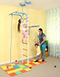 Kids Playground Play Set for Floor & Ceiling / Family Indoor Training Gym Sport Set with Accessories Equipment: Climber, Climbing Rope and Gymnastic Rings / For School, Playroom / WALLBARZ Transformer