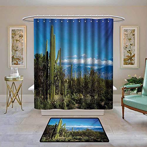 Kenneth Camilla01 Fabric Shower Curtain Waterproof Desert,Wide View of The Tucson Countryside -