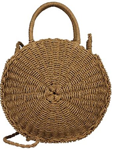(Lush Leather Natural Handmade Woven Crochet Circle Straw Abacá Tote Natural Vintage Travel Bag)