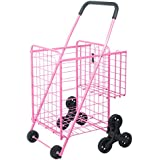 Folding Shopping Carts – Supenice (SN7507) Deluxe Stair Climbing Utility Cart with Tri-Wheels, Double Basket, Extended Handle, 66 LBS Capacity, Utility Cart Great for Shopping, Camping, Sports Equipme