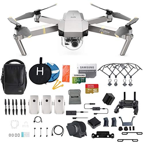 DJI Mavic Pro Platinum Fly More Combo Collapsible Quadcopter Drone Bundle, 64GB Memory Card, 2 Extra Battery, Landing Kit and More