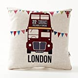 A.B Crew Creative British Style 2 in 1 Cotton Linen Pillow Quilt Blanket Lumbar Supports Throw Pillow Back Cushion(London Double-deck Bus)