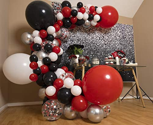 Red and Black Balloon Garland Kit & Arch - Small and Large Red White Black Balloons Party Decorations for Graduation or Boy Birthday - BBQ Baby Shower, Casino, Poker, Vegas, Ladybug, Pirate, Cars