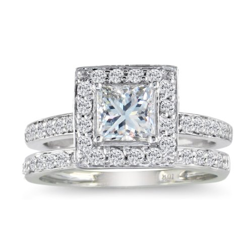 Princess Cut 1ct Diamond Bridal Set in 14k White Gold, Available Ring Sizes 4-9, Ring Size 7.5