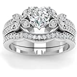 Womens Halo Heart Cut AAA CZ 925 Silver Wedding Bridal Ring Set Fashion Jewelry (6)