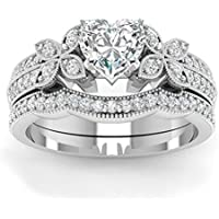 Womens Halo Heart Cut AAA CZ 925 Silver Wedding Bridal Ring Set Fashion Jewelry (8)