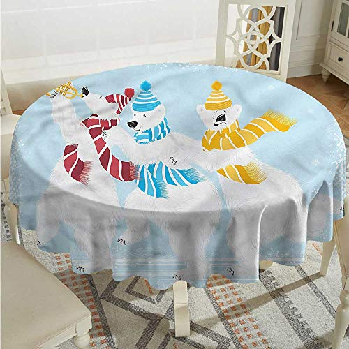 Tim1Beve Bear Washable Round Tablecloth Xmas at North Pole Funny Dinner Picnic Table Cloth Home Decoration D54 INCH ()