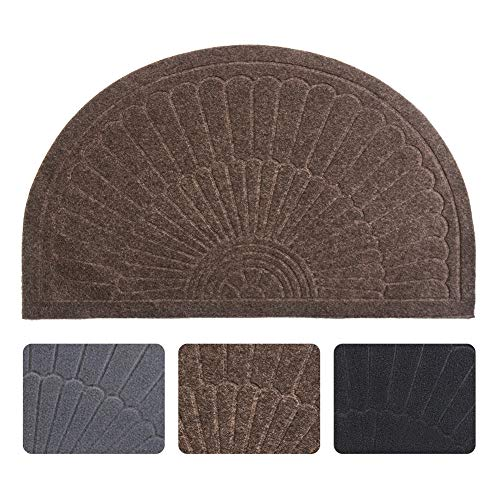 Half Round Door Mat Entrance Rug Floor Mats, Waterproof Floor Mat Shoes Scraper Doormat, 18''x30'' Patio Rug Dirt Debris Mud Trapper Out Door Mat Low Profile Washable Carpet (Coffee)