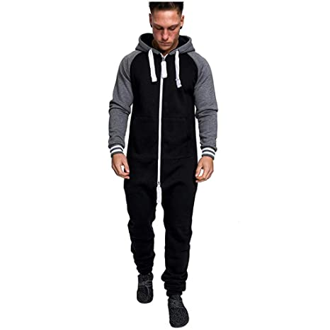074a3ee149a Image Unavailable. Image not available for. Color  Men s Christmas Onesie  Jumpsuit one Piece Non Footed Pajamas Unisex-Adult Hooded Overall Hoodie Zip