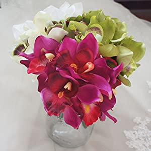 Lily Garden Mini 7 Stems Cymbidium Bouquet Artificial Flowers 6