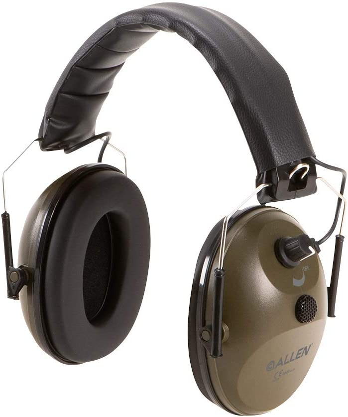 Allen Company Single Microphone Emuff, Ear Protection, Ear Muffs with Exceptional Sound Quality and 4X Enhancement, Meets ANSI S3.19/ CE EN 352, NRR 22 DB, Compact Fold, Green