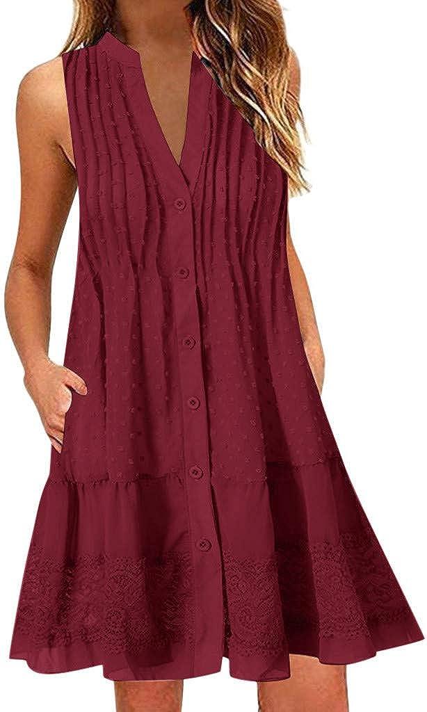 Toimothcn Women Tank Dress Sleeceless V Neck Swing Dress Solid Casual Tank Tops Vest