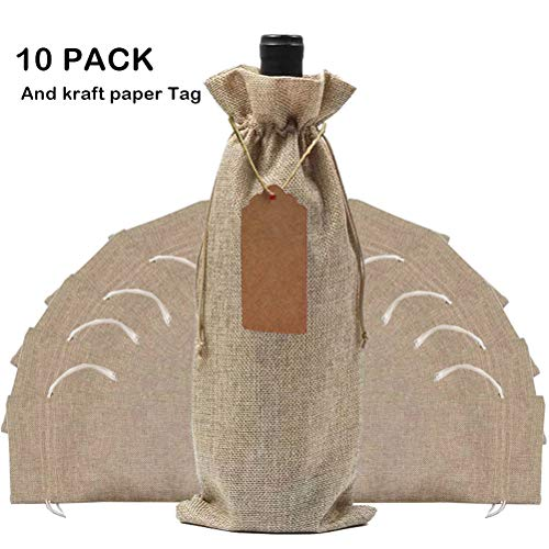 10 Pack Jute Burlap Wine Bags with Drawstring,Lovezeu Gift Packaging Wine Bags 13.78x5.9 inch Reusable Bottle Wrap Dresses Pouches (Natural)