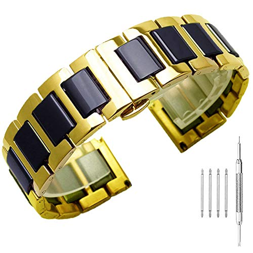 (Black Ceramic Gold Watch Band, 18mm Stainless Steel Strap, Ladies Watch Bracelet with Deployment Clasp)