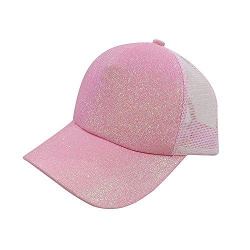 ZOMUSAR Women Ponytail Baseball Sequins Shiny Messy Bun Snapback Hat Sun Caps (Pink)