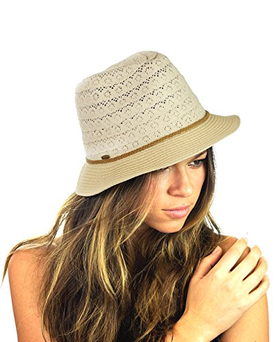 NYFASHION101 Braided Trim Spring Summer Cotton Lace Vented Fedora Hat - Beige - Braided Spring