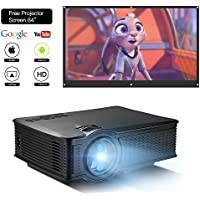 DOACE P1 HD 1080P Video Projector Indoor Outdoor with Portable Projector Screen 84', Home Theater Projector Support USB SD Card VGA AV for Home Cinema TV Laptop Game Smartphone with Free AV Cable