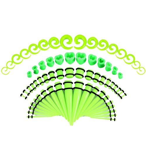 JDXN 64PCS Acrylic Gauge Kit Tapers + Heart Tunnels + Plug with O Ring + Spiral Tapers 14G-00G Stretching Set (Green)