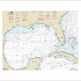 nautical chart gulf of mexico - Gulf of Mexico Nautical Chart printed on sailcloth for home décor unframed art print.