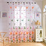 Cheap ELEOPTION Decorative Window Treatments Curtains Linen Look Transparent Curtain Voile Curtains For Bedroom, Living Room, Small Windows Curtain Set of 2 (52″ W x 95″ L Inch Per Panel, Butterfly-B)