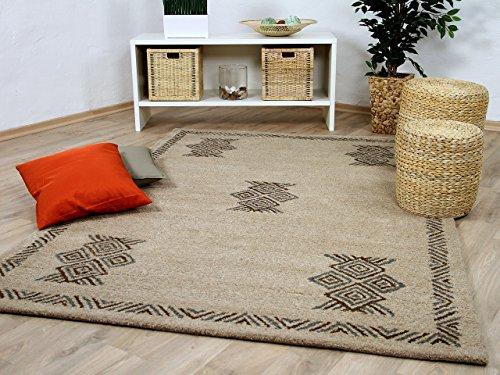 Natur Teppich Berber Aruna Beige Bordüre in 7 Größen
