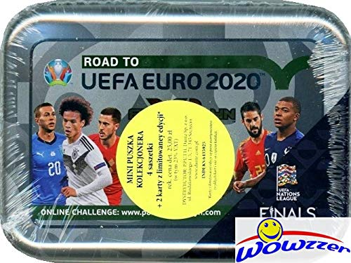 2020 Panini - 2020 Panini Adrenalyn Road to UEFA EURO Factory Sealed Collectors TIN with 24 Cards & (2) Limited Edition Cards! Look for Top Stars Ronaldo, Kane, Modric, Mbappe & More! Imported from Europe! WOWZZER!