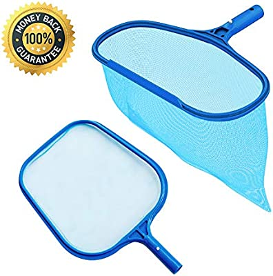 Telescopic Pole Flat Leaf Skimmer Net for Swimming Pool Spa Hot Tub Cleaning