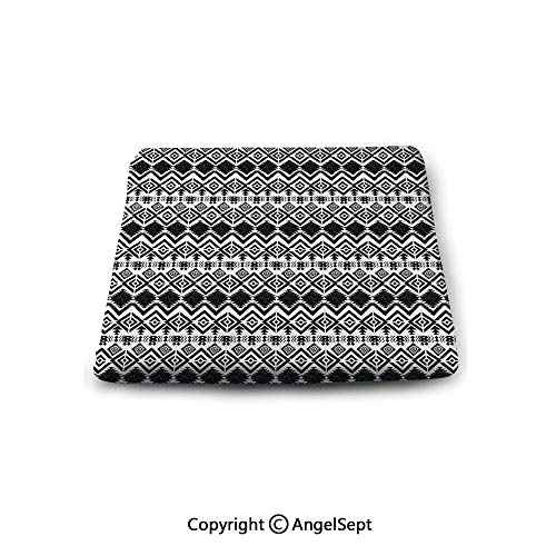 Double Sided 14' Pillow - Non-Slip Cushion Square Chair Pad,Geometric,Monochrome Hand Drawn Tribal Pattern Abstract Aztec Motifs Ancient Civilizations Decorative,Black White, Indoor Outdoor Chair Cushions