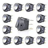 Kebinfen® 12 PCS 20A 12V On/Off Self Latching Car Rocker Toggle Switch with Blue LED Illuminated for Car Auto Boat