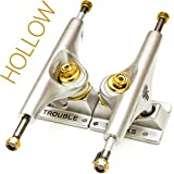 "Trouble Trucks Skateboard Truck Hollow Light - 139mm Hanger 8.25"" Axle - Matte Gold Silver - Set of 2 (T2)"