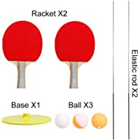 kingpo Elastic Soft Shaft Table Tennis Trainer Entrenador Elastic Rod 90CM Descompresión Eye Training Ball 2 Raqueta de Tenis de Mesa y 3 Set de Tenis de Mesa