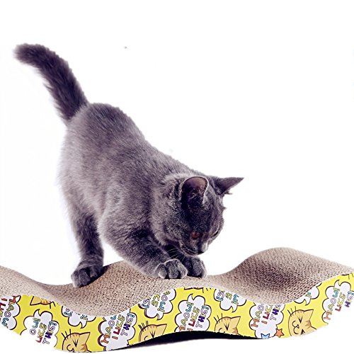 LOYEH Cat Scratcher Cardboard for Little Cats and Dogs, Corrugated Scratching Pad with Wave Curved Catnip Cat Cardboard Sofa Lounge Wave, Brown