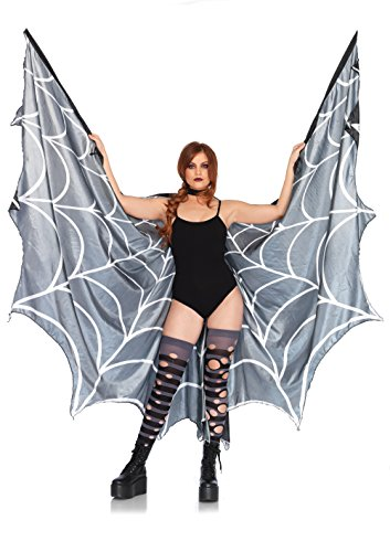 Leg Avenue Women's Spiderweb Halter Wing Cape, Black/White,