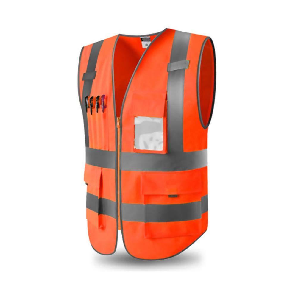 Hochsichtbare Warnweste,Warnweste Sicherheitweste Mit Taschen,360 Grad Gut Sichtbar Reflektierende Warnschutzweste F/ür Sicherheitswarnwesten Arbeitsweste Hohe Sichtbarkeit Komfortabel Luftdurchl/ässig